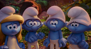 Smurfette brainy hefty and clumsy scared at papa