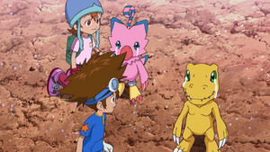 Taichi, Sora look at Biyomon & Agumon crying