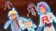 Clemont, James and Meowth with Malamars