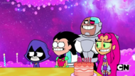 Raven, Robin, Cyborg, and Starfire smiling awkwardly