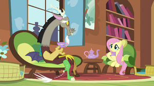 Discord and Fluttershy having Tuesday tea S5E7
