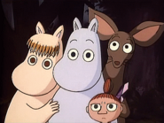 Moomintroll, Sniff, Little My and Snork Maiden in Island