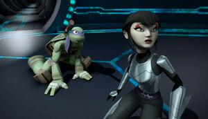 Donatello and Karai in Dimension X