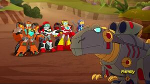 Grimlock and the Recruits are now on Dino Island