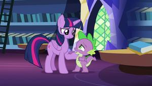 Spike apologizing to Twilight S8E24