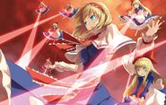 Konachan.com - 73708 alice margatroid blonde hair blue eyes dress long hair magic ribbons shanghai short hair sky touhou