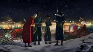 Tenzin bidding farewell to Korra