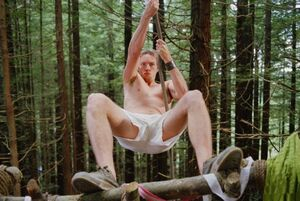 Tom Marshall (Dax Sheppard) in Without a Paddle in his boxer shorts ziplining to protect Flower and Butterfly