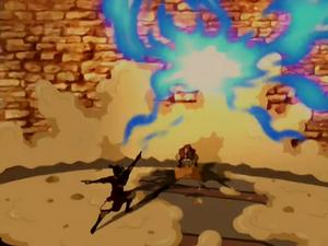 Aang wrecks the drill
