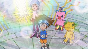 Sora, Taichi, Biyomon and Agumon