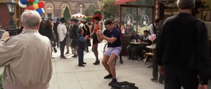 Looney Tunes Back In Action - DJ Drake (Brendan Fraser) notices he is in his boxers in a busy street