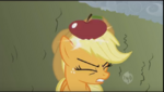 Apple drops onto Applejack's head S2E01