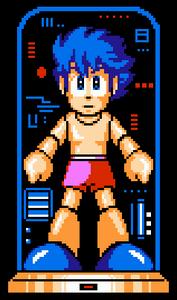 Mega Man IV Rock in boxer shorts transforming into Mega Man