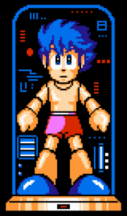 Mega Man IV Rock in boxer shorts transforming into Mega Man