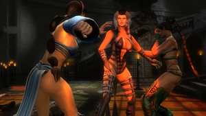 Kitana intercepts Sindel trying to stop her