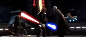 Anakin Skywalker fighting Count Dooku