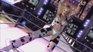 Dixie showing off her figure in the ring during the Rodeo Drive's Entrance