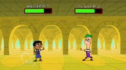 Ferb y Baljeet jugando un Videojuego