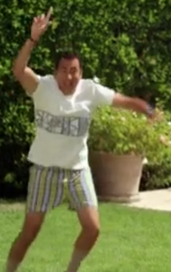 Gil Bartis (Kal Penn) in his boxer shorts from We Are Men going to rescure Maisie