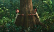 Linda & Tulio tied to a marked tree