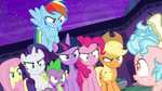 Mane Seven glaring at Cozy Glow S8E26