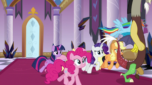 Mane Six follow Discord down the hall S9E2