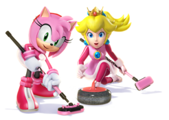 Princess Peach - Amy Rose Artwork - Mario & Sonic Sochi 2014
