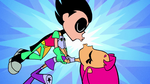 Teen Titans Go! Robin and Starfire lean in to kiss