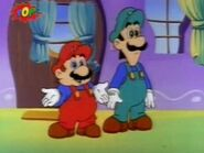 Mario reconciling with Luigi after being freed from Ludwig's mind control