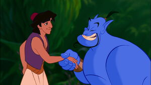 Aladdin and Genie having a handshake after Aladdin agrees to set Genie free after his first two wishes