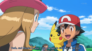 PKMXYEP53 - Ash Tells Serena That It Was Because of Her That He Rode Rhyhorn