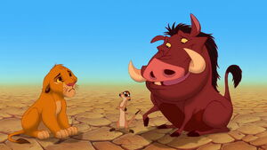 Simba first meets Timon and Pumbaa