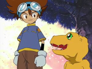 Taichi and Agumon (Let's defeat Devimon)
