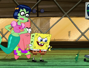 SpongeBob, Patrick, and Mindy facing Plankton