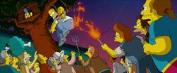 Homer Simpson being punished by an angry mob for polluting the lake