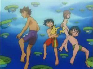 Ash, May, Max & Brock underwater