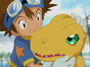 Agumon con tai despidiendose