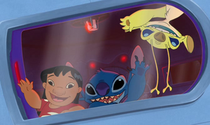 Lilo, Stitch and Sparky in Dr. Hämsterviel's Space Ship