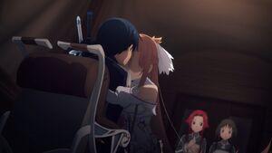 Asuna hugs Kirito