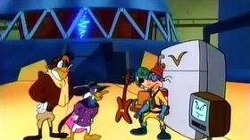 Darkwing Duck and Launchpad facing Megavolt