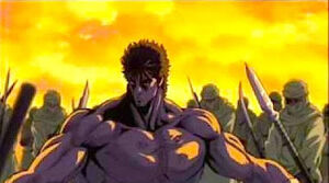 Kenshiro facing Jugai's army