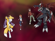 Rika, Ryo, Renamon and Cyberdramon (After D-Reaper's defeat.)