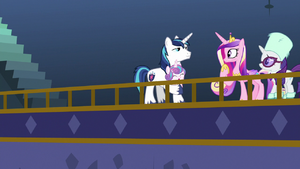Shining Armor lands on the balcony MLPBGE