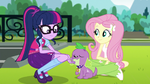 Twilight Sparkle scratching Spike's chin EGS1