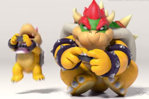 Bowser playing the Nintendo Switch with Bowser Jr.