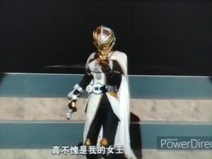 Kamen Rider Tsukuyomi is holding a Ichigo Ridewatch