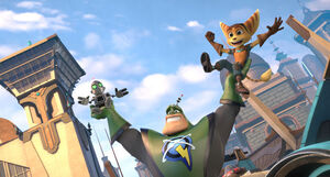 Ratchet and Clank with Qwark on Aleero City