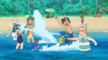 Ash and Sophocles vs. Lana, Mallow and Lillie in Beach
