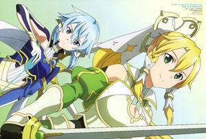 Yande.re 633744 aqua inc. armor cleavage leafa sinon sword sword art online sword art online alicization weapon
