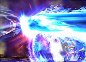 Ryu-fights-chun-li-in-tatsunoka-vs-capcom-screenshot